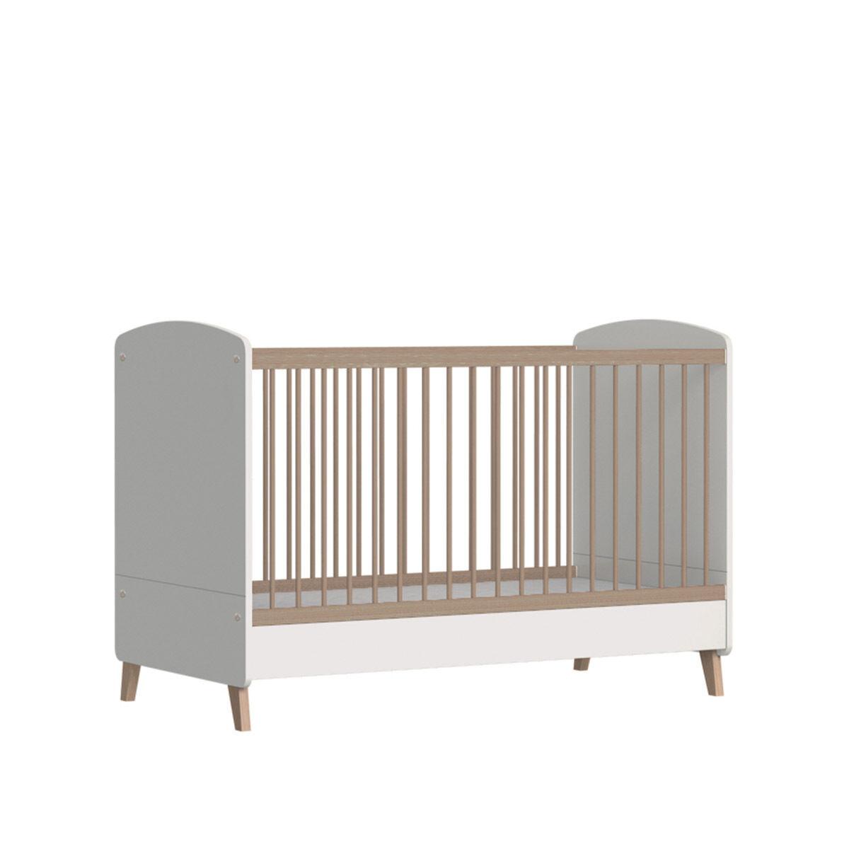 ID Kids Lit bébé évolutif, matelas Panneaux de bois 70x140 Blanc, bois