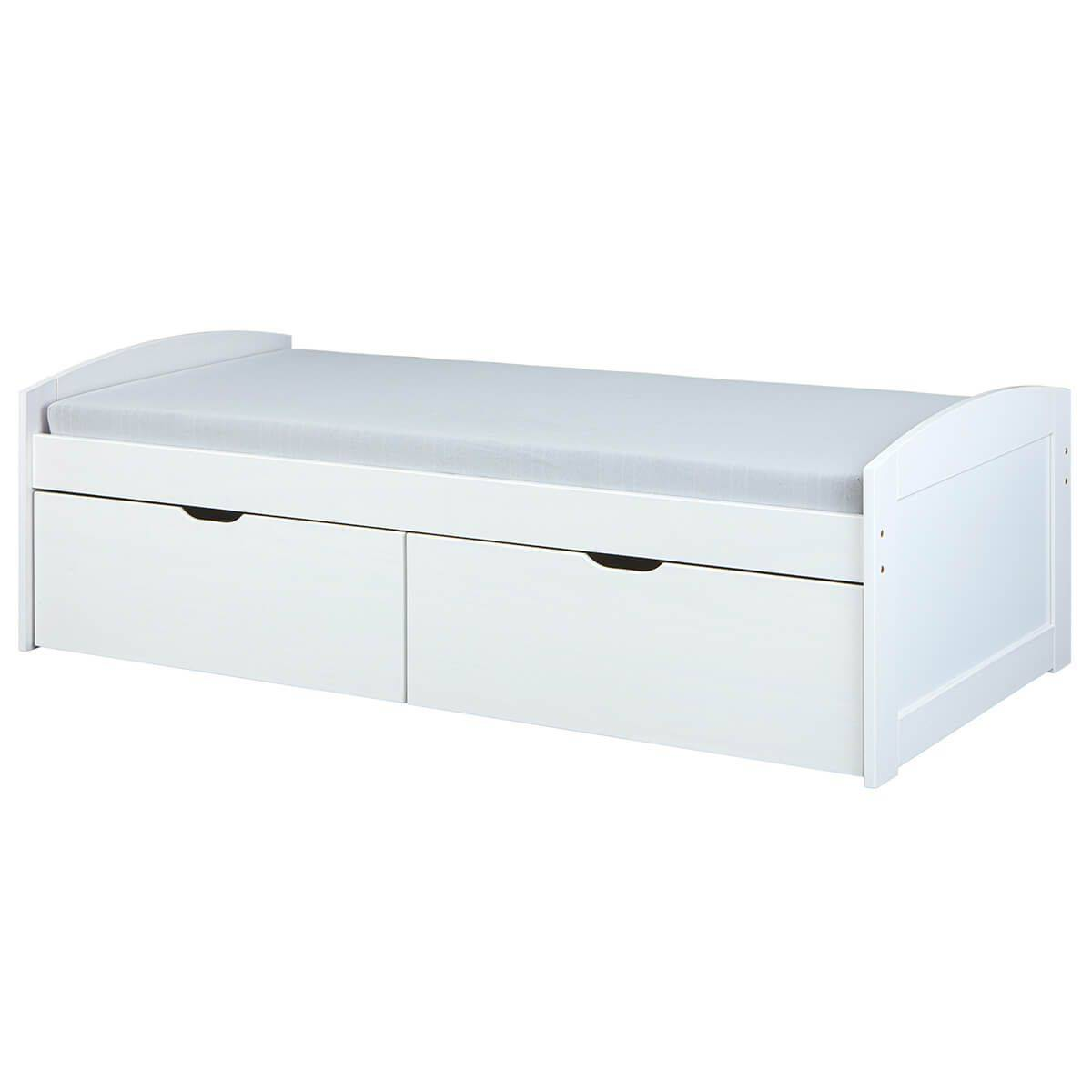 Altobuy Lit  90x200cm 2 tiroirs vernis blanc