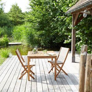 Bois Dessus Bois Dessous Salon de jardin en acacia et textilène gris 2 personnes - Publicité