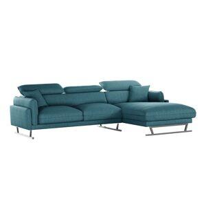L'Officiel Interiors Canapé d'angle droit 5 places toucher lin turquoise - Publicité