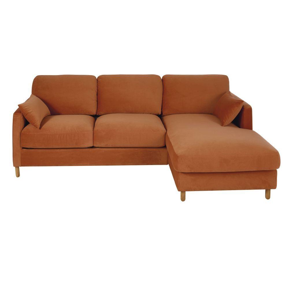 Maisons du Monde Canapé d'angle droit convertible 5 places en velours orange, matelas 14 cm Julian