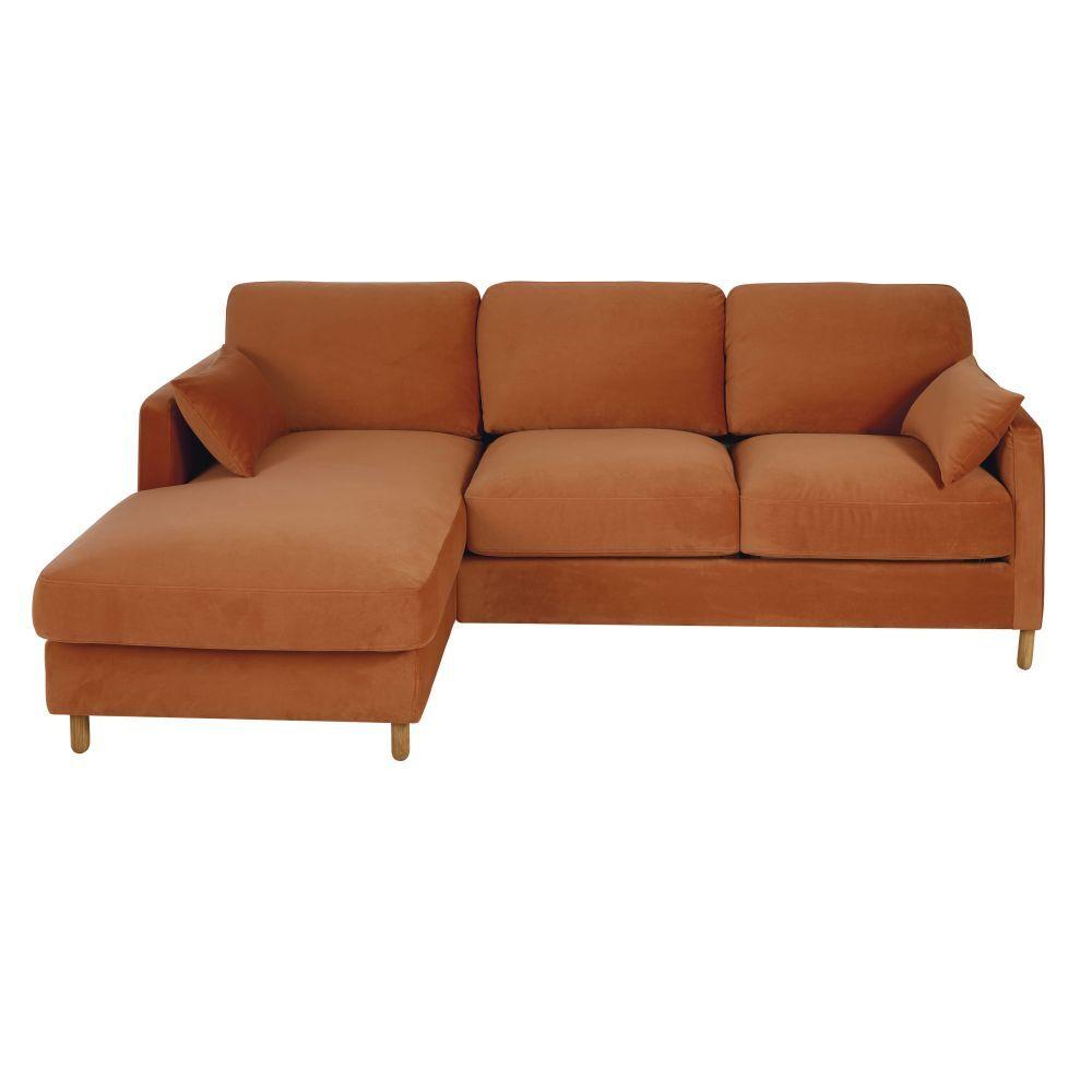 Maisons du Monde Canapé d'angle gauche convertible 5 places en velours orange, matelas 14 cm Julian