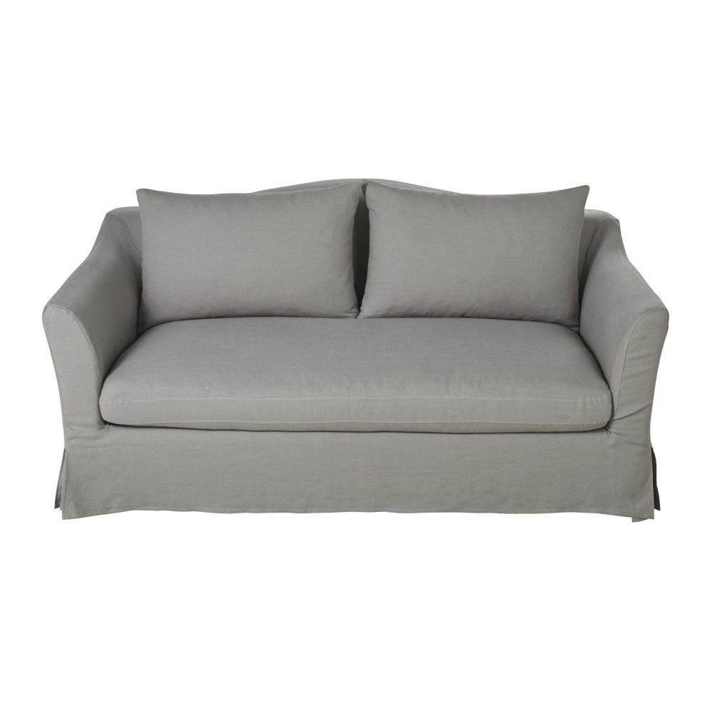 Maisons du Monde Canapé-lit 2 places en lin gris clair Anaelle