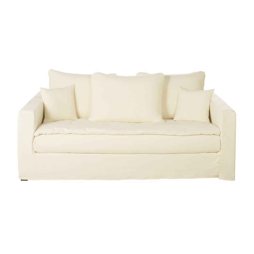 Maisons du Monde Canapé-lit 3/4 places en lin épais ivoire Célestin