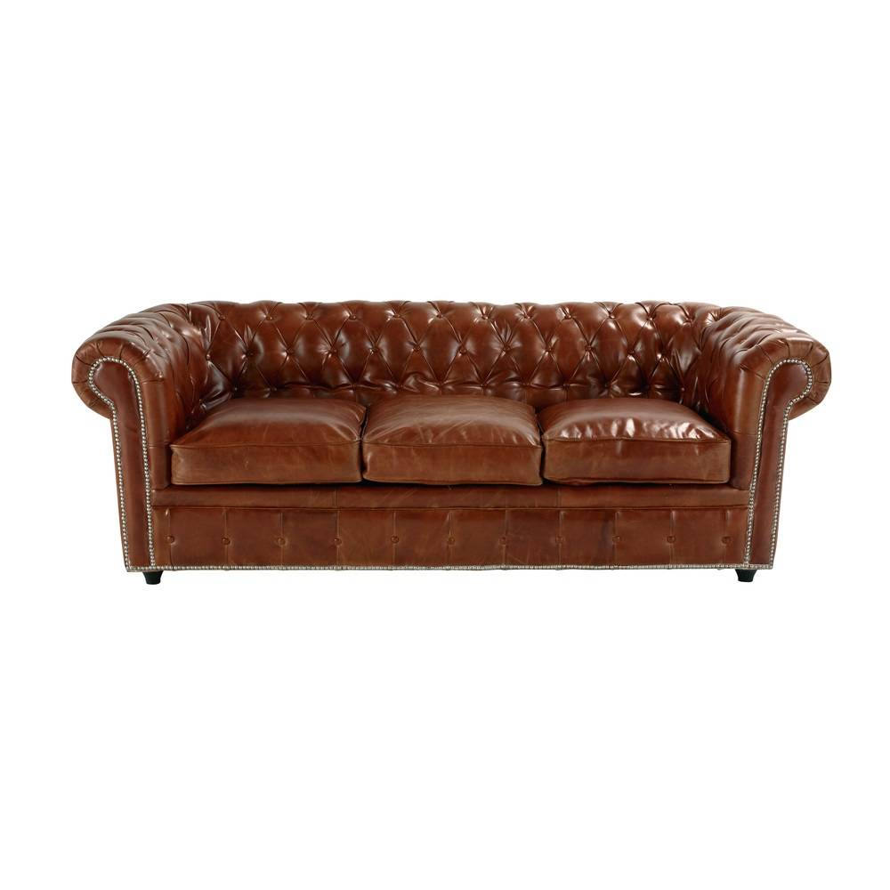 Maisons du Monde Canapé-lit 3 places en cuir marron Chesterfield