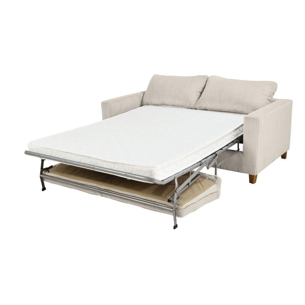 Maisons du Monde Canapé-lit 3 places en velours côtelé gris clair Holden