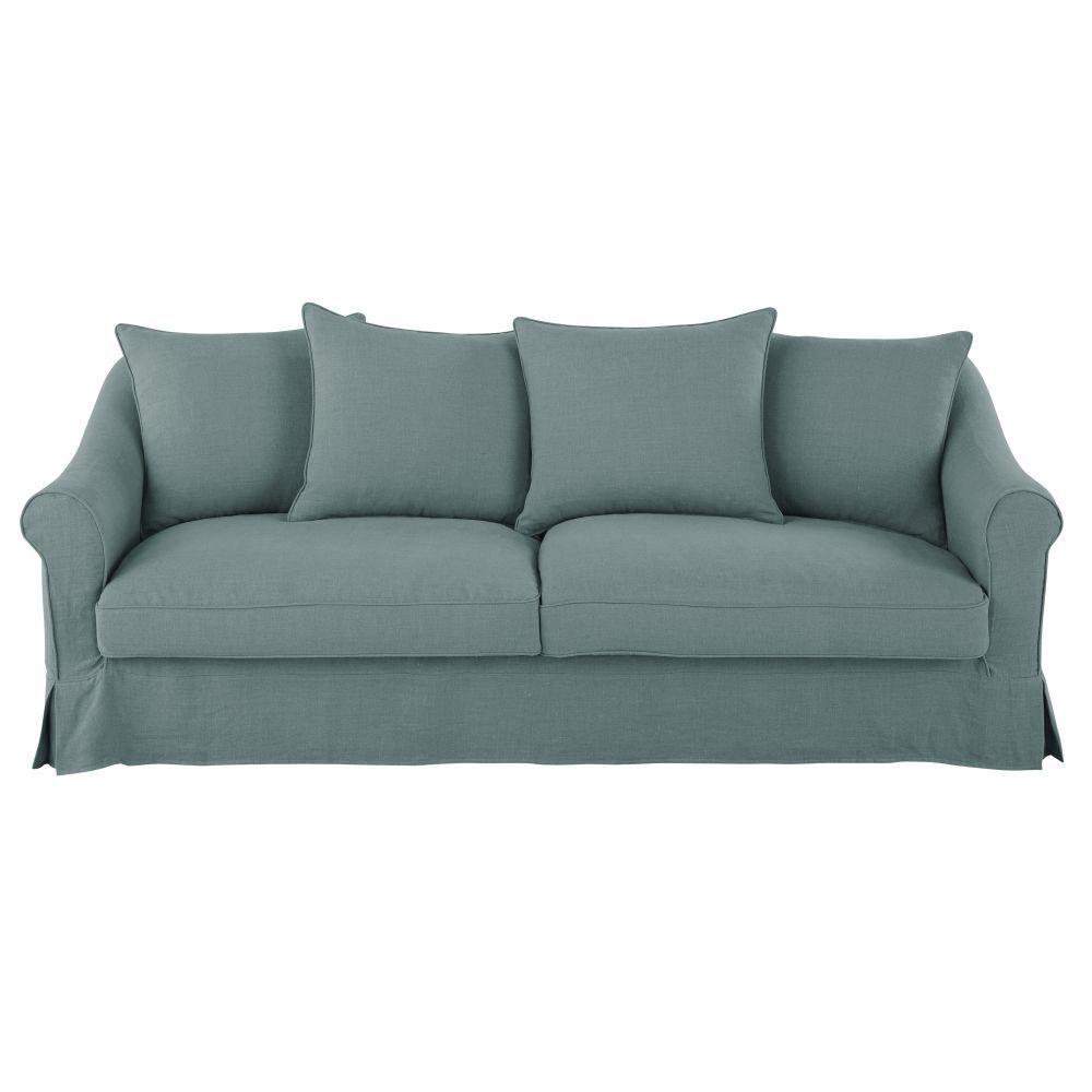 Maisons du Monde Canapé-lit 4/5 places en lin bleu céladon, matelas 10 cm Joanne