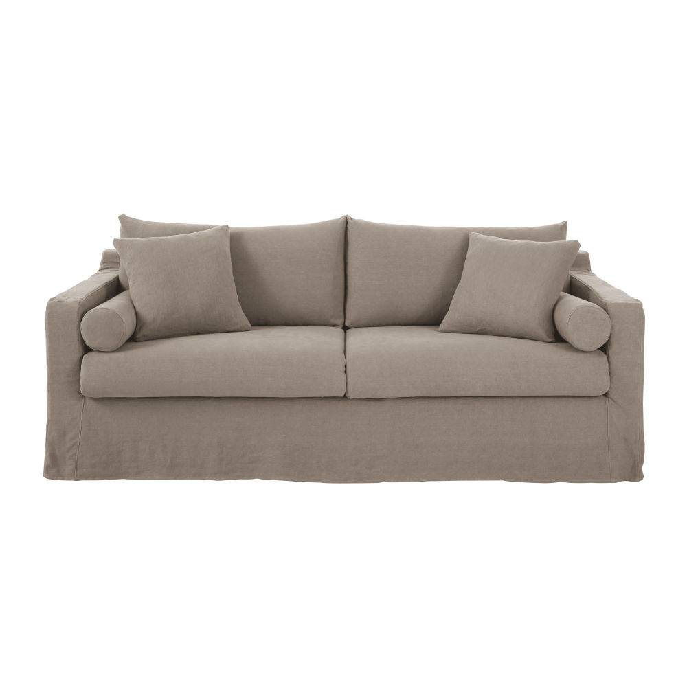 Maisons du Monde Canapé-lit 4 places en lin épais beige ficelle Francisco
