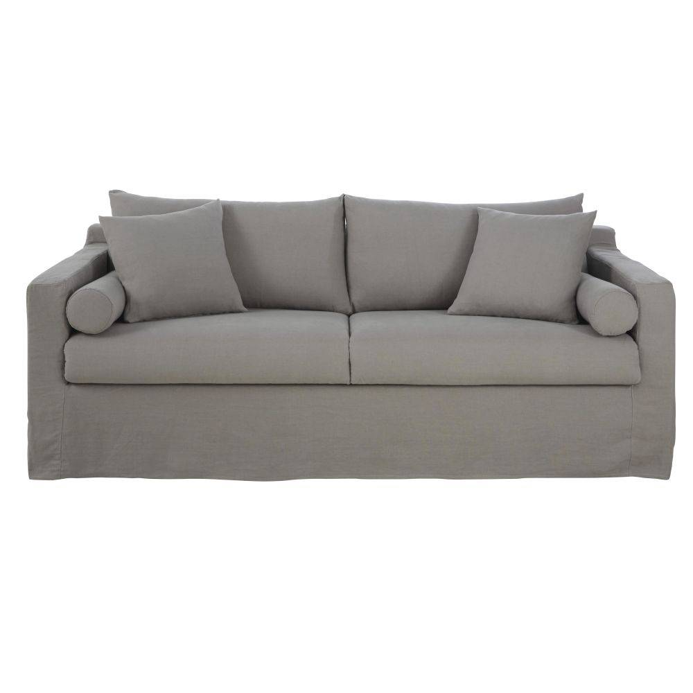 Maisons du Monde Canapé-lit 4 places en lin gris clair Francisco