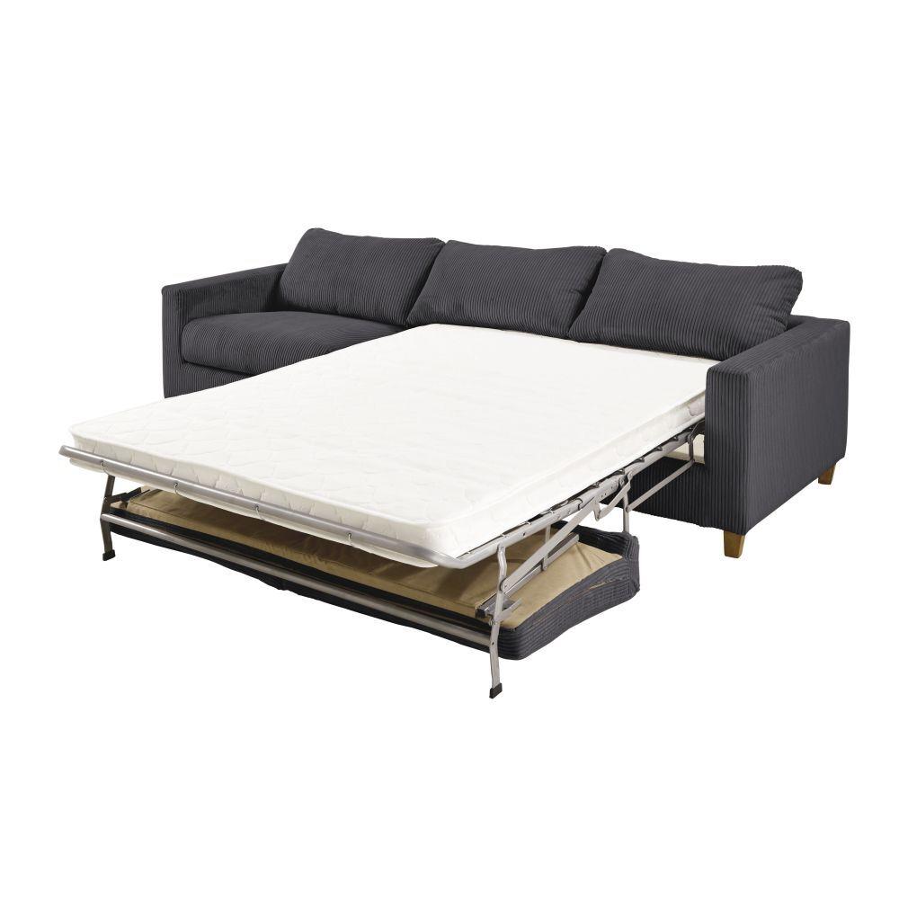 Maisons du Monde Canapé-lit 4 places en velours côtelé gris anthracite Holden