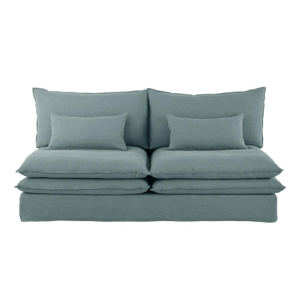 Maisons du Monde Chauffeuse de canapé 2 places en lin bleu céladon Pompei