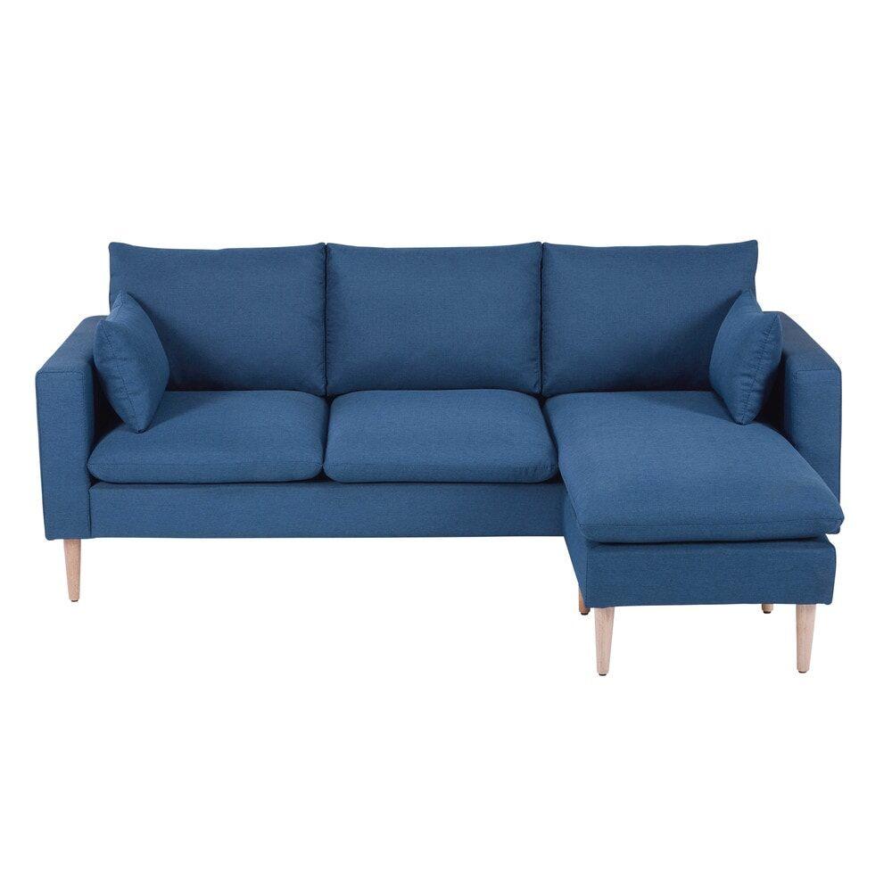 Maisons du Monde Canapé d'angle 3/4 places en tissu bleu