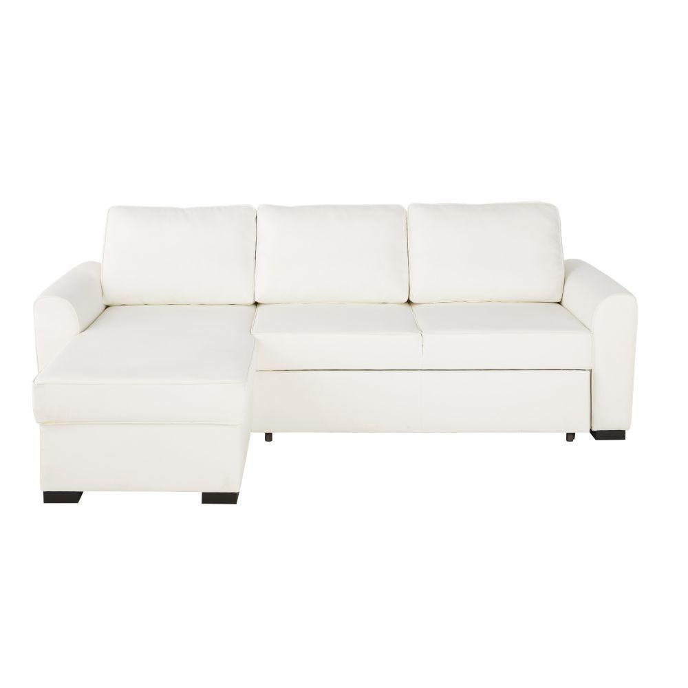 Maisons du Monde Canapé d'angle convertible 4 places en textile enduit blanc