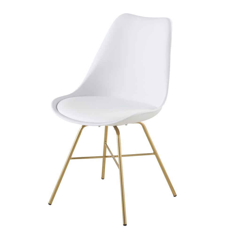 Maisons du Monde Chaise blanche et pieds en métal chromé doré