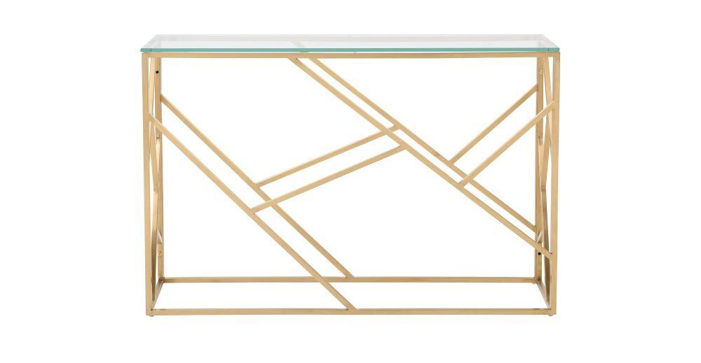 Maisons du Monde Console en verre et métal doré