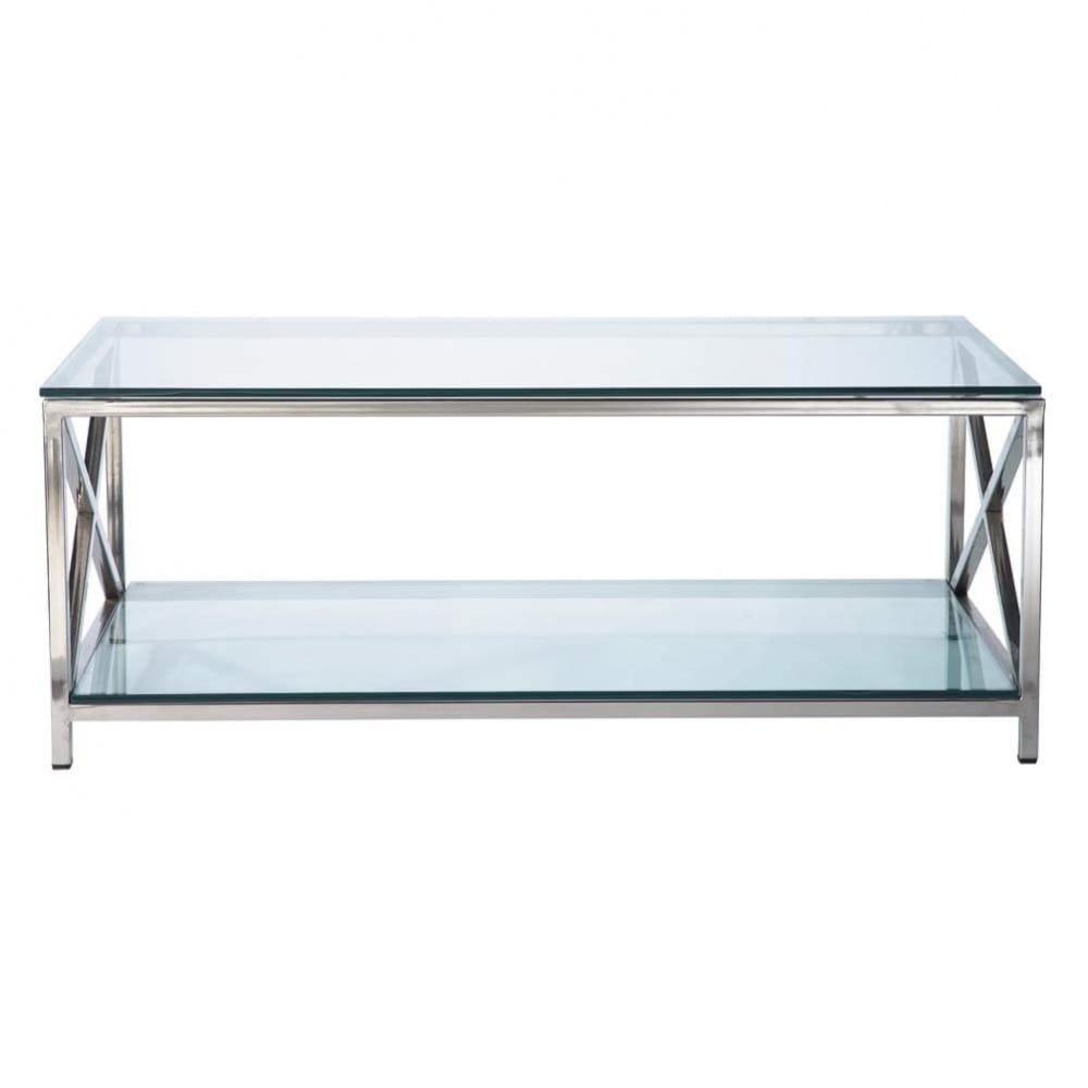 Maisons du Monde Table basse en verre et métal L110