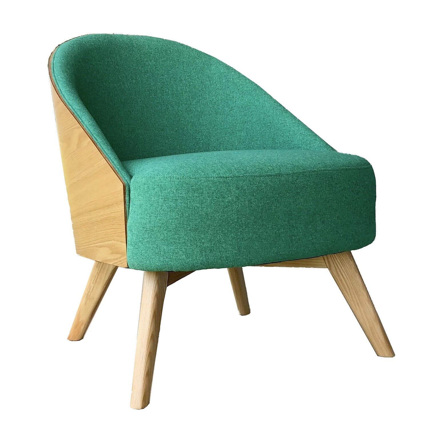 Mathi Design Fauteuil scandinave en tissu vert et bois