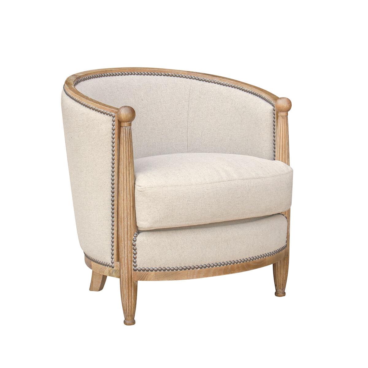 Robin des Bois Petit fauteuil tonneau en lin naturel