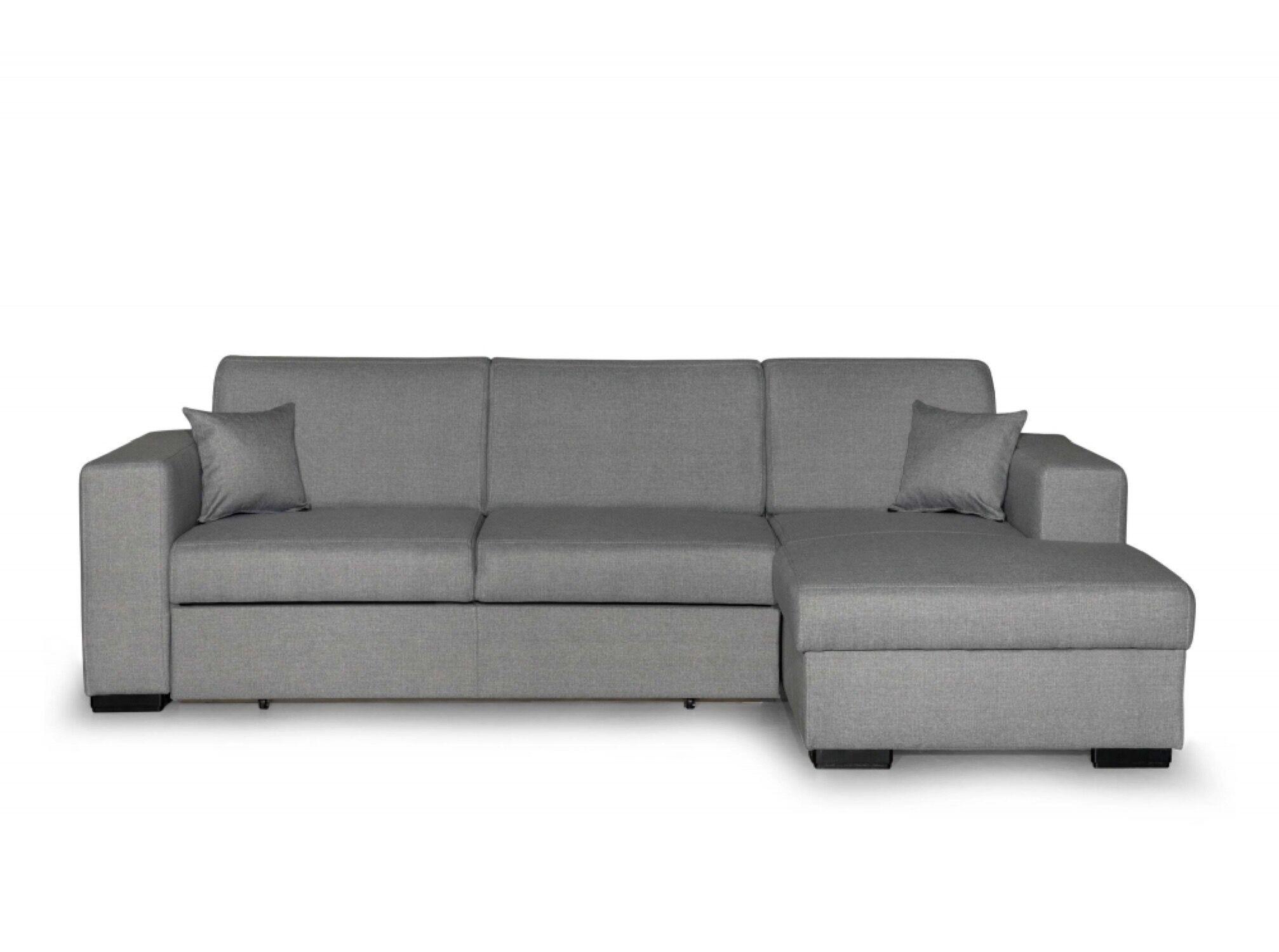 Usinestreet Canapé d'angle droit convertible en tissu gris clair