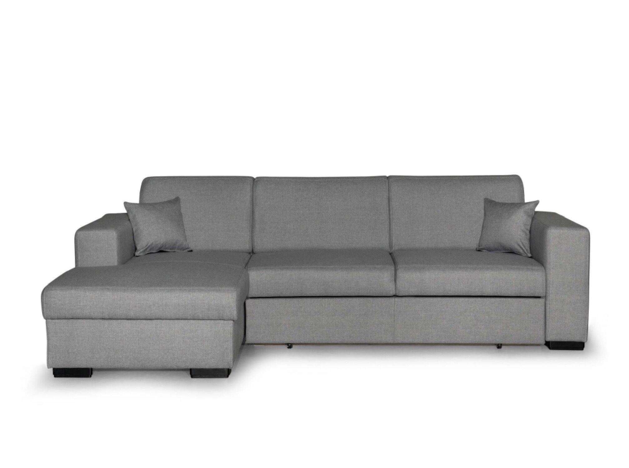 Usinestreet Canapé d'angle gauche convertible en tissu gris clair