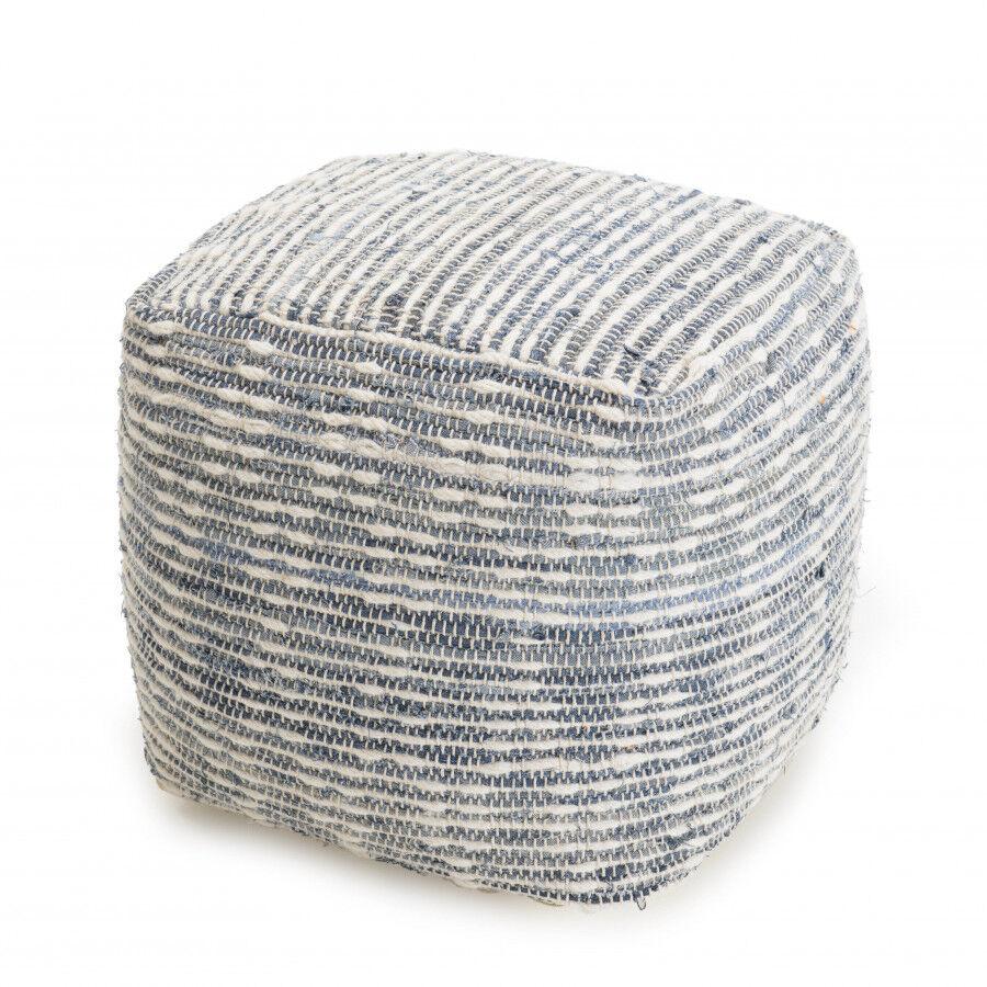 MACABANE Pouf carré coton et laine bleu et blanc