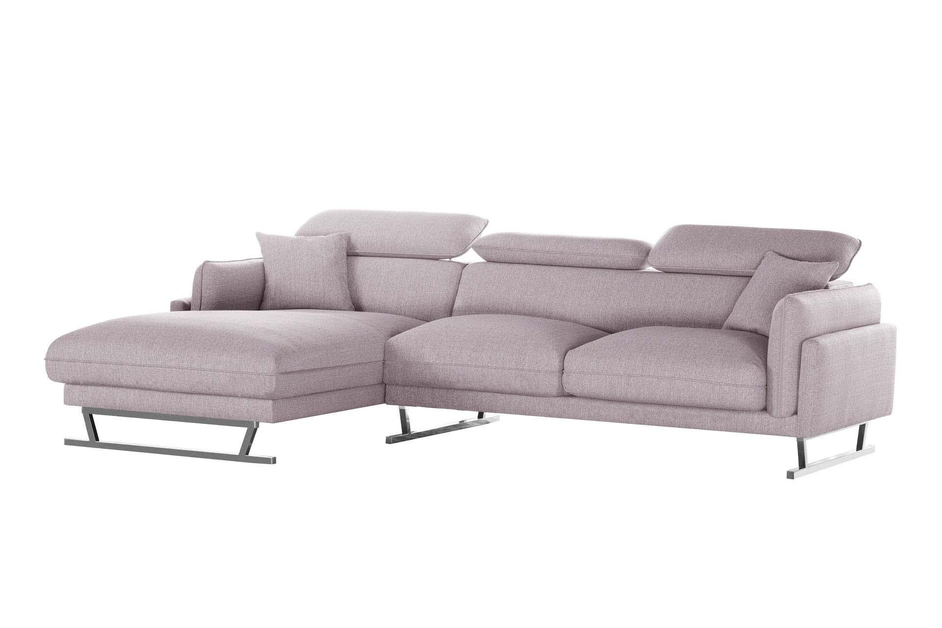 L'Officiel Interiors Canapé d'angle gauche 5 places toucher lin rose poudré
