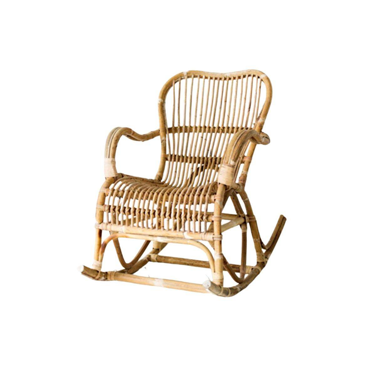 Casatera Rocking chair en rotin naturel  bois clair