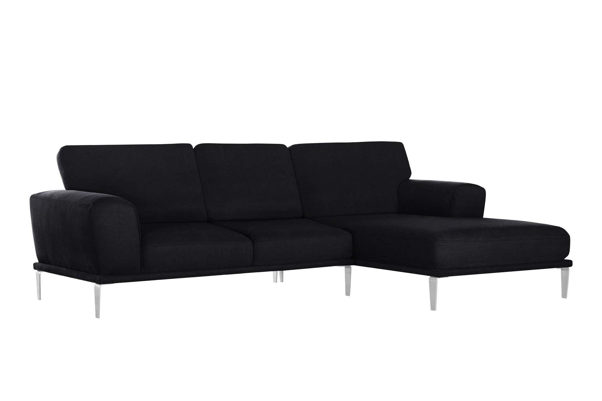 L'Officiel Interiors Canapé d'angle droit 5 places toucher coton noir