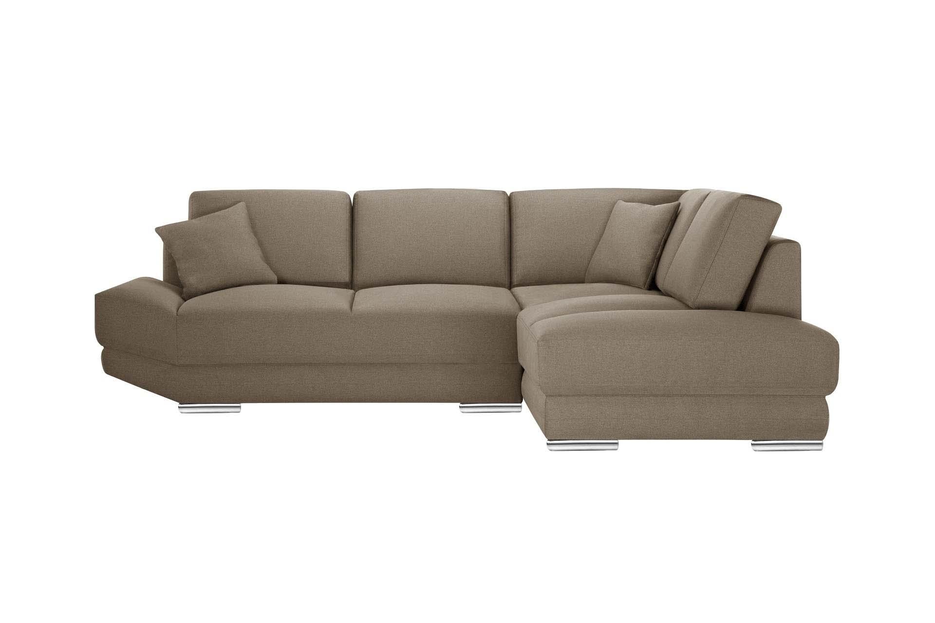 L'Officiel Interiors Canapé d'angle droit 5 places toucher lin noisette
