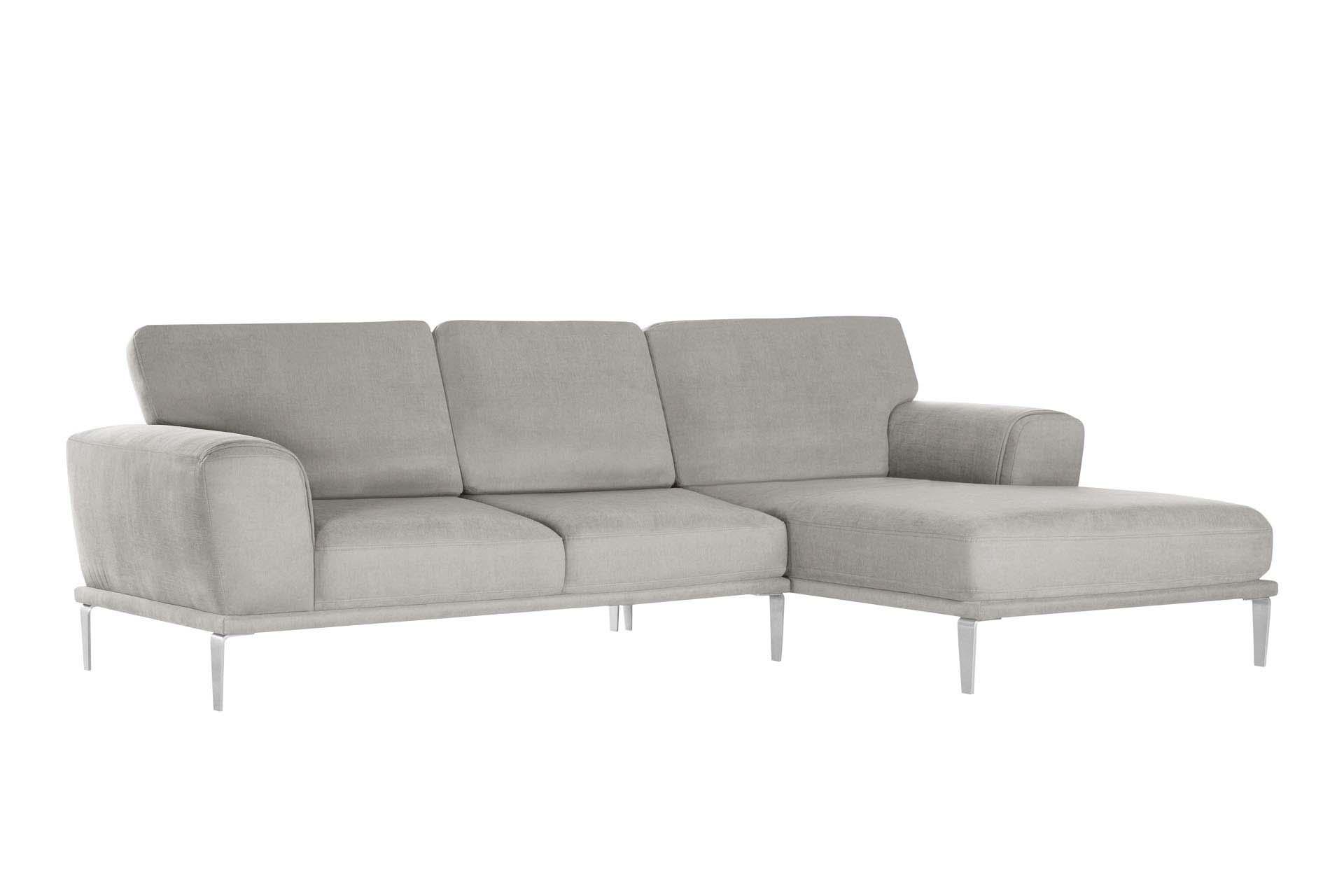 L'Officiel Interiors Canapé d'angle droit 5 places toucher coton gris clair
