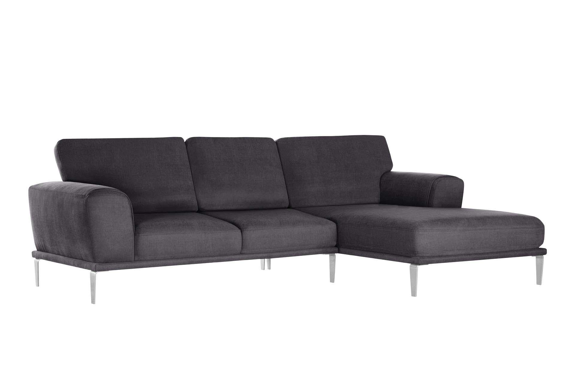 L'Officiel Interiors Canapé d'angle droit 5 places toucher coton anthracite