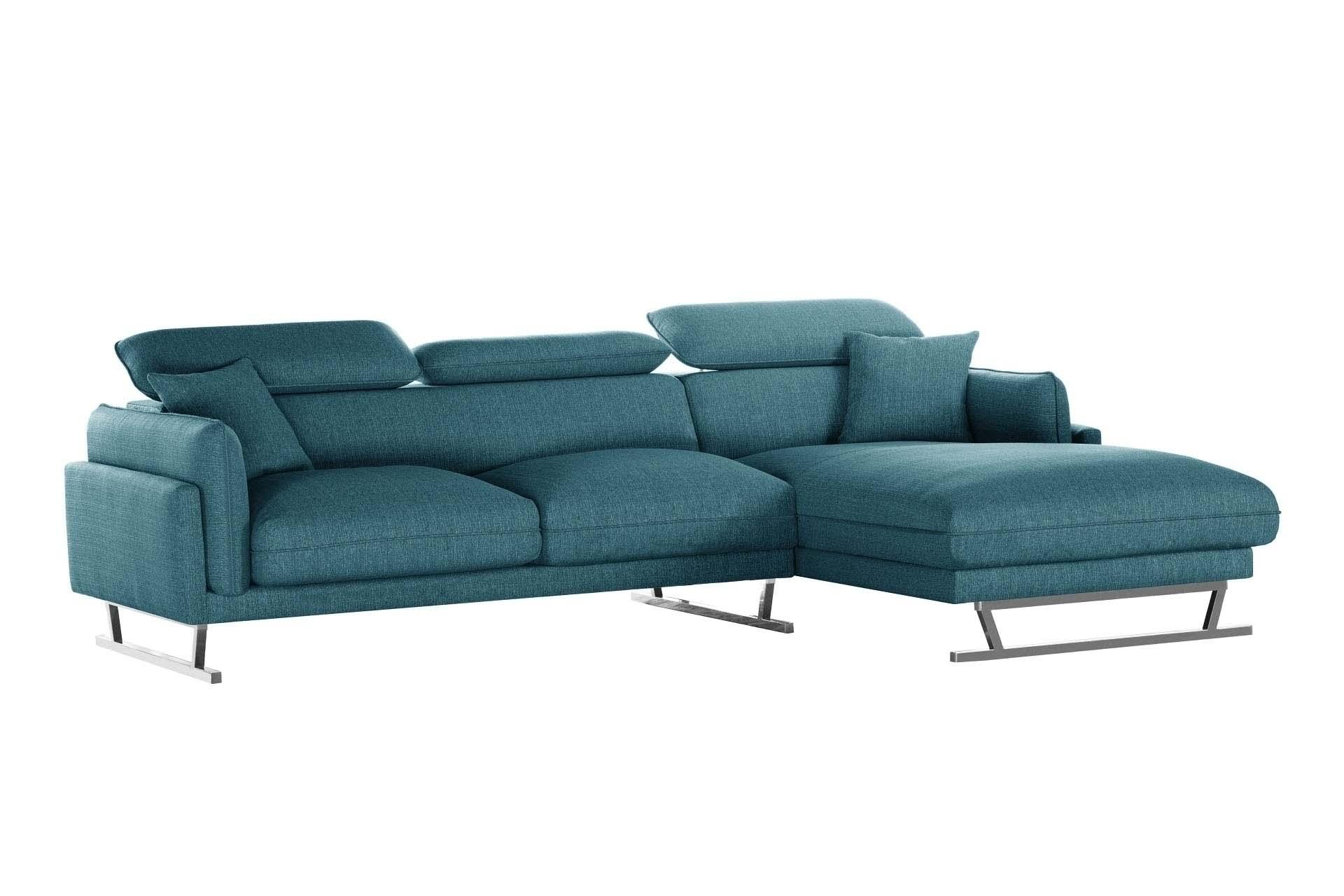 L'Officiel Interiors Canapé d'angle droit 5 places toucher lin turquoise