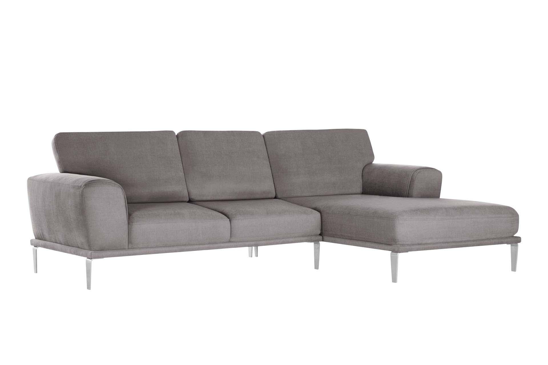 L'Officiel Interiors Canapé d'angle droit 5 places toucher coton marron cendré