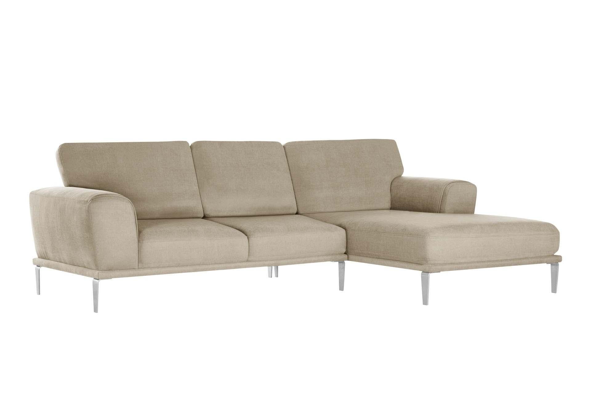 L'Officiel Interiors Canapé d'angle droit 5 places toucher coton beige