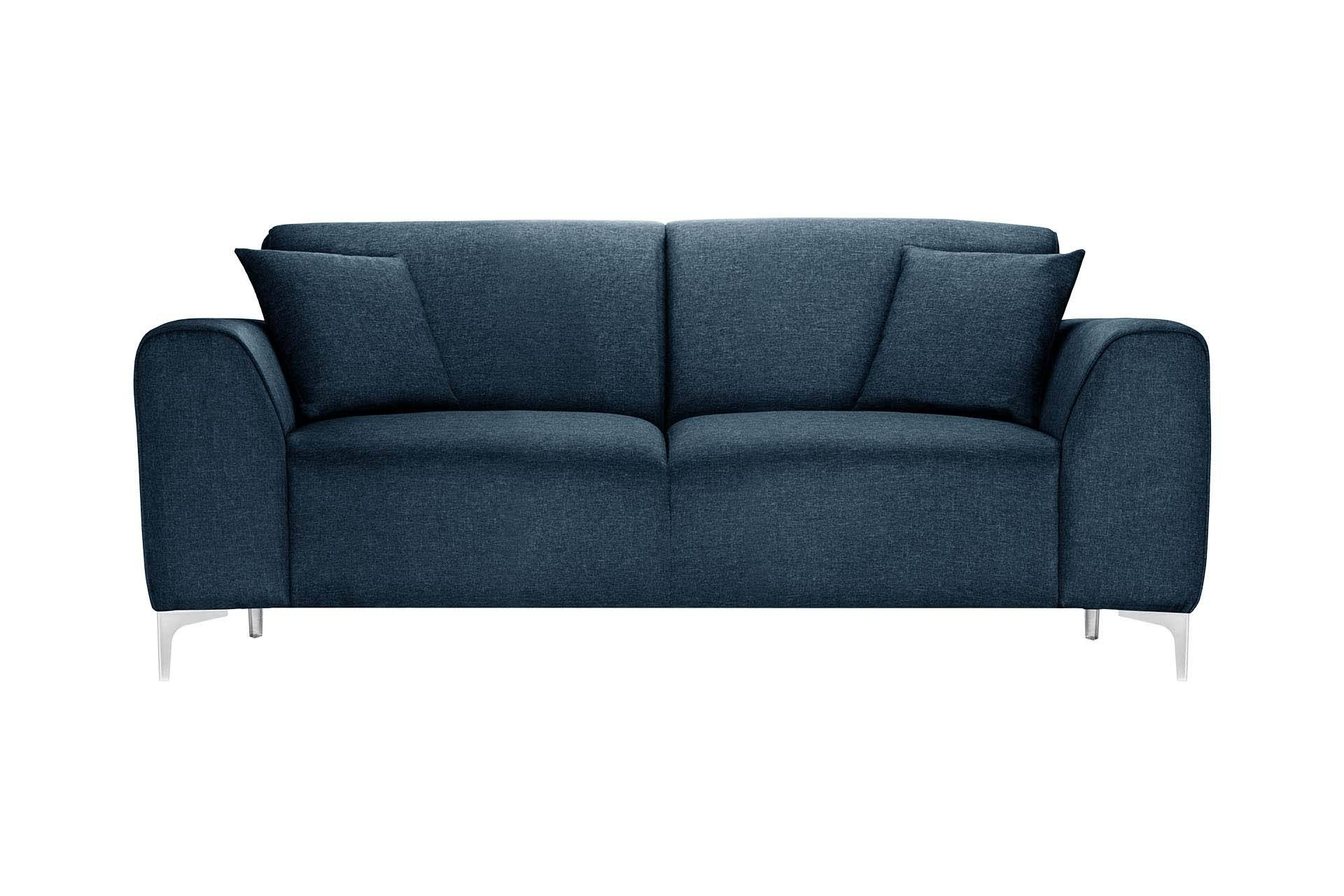 Florenzzi Canapé 2 places toucher lin bleu jeans