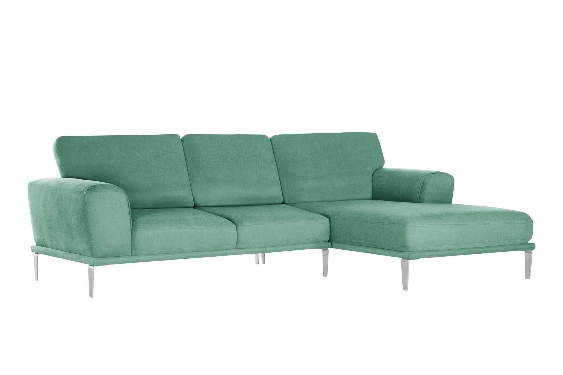 L'Officiel Interiors Canapé d'angle droit 5 places toucher coton mint