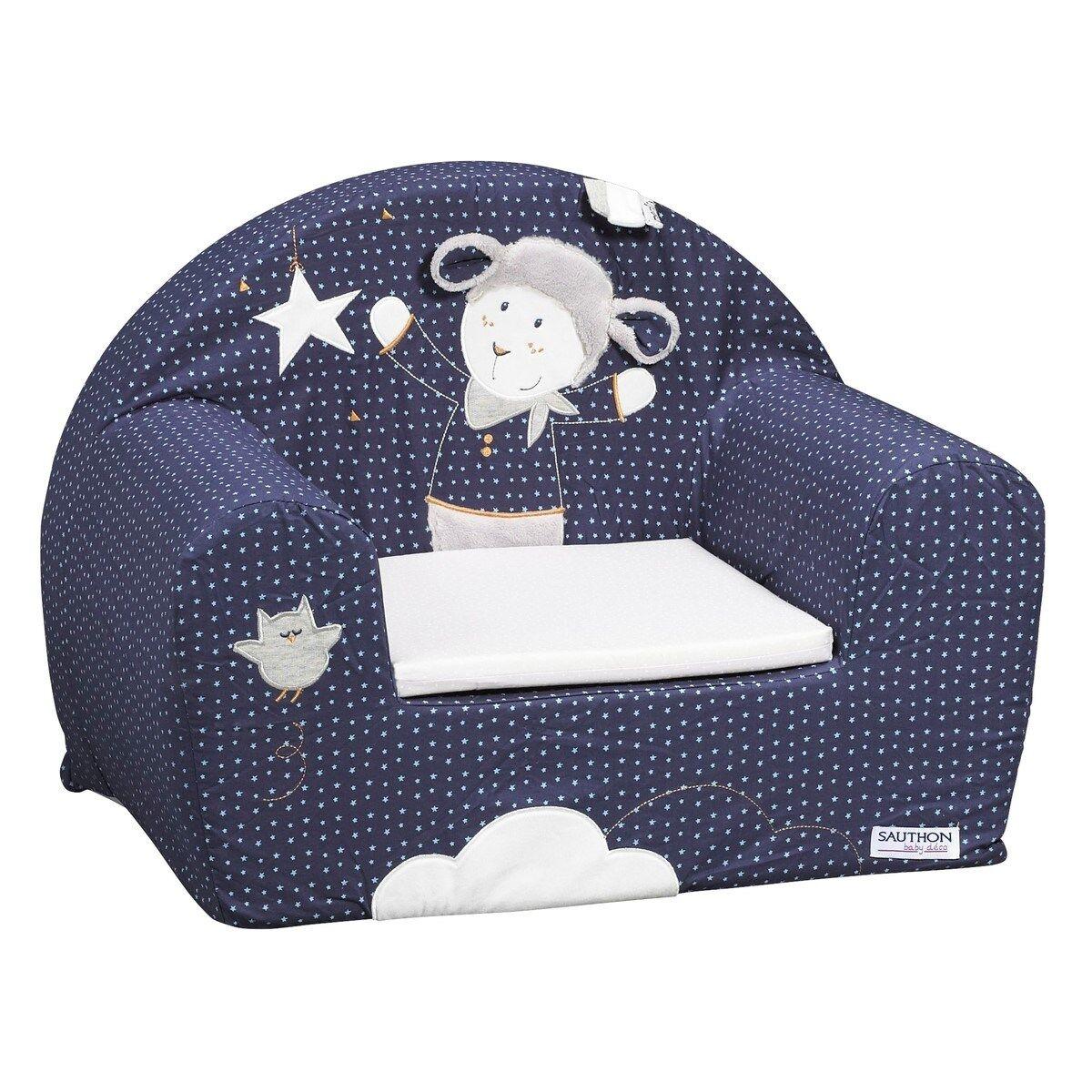 Sauthon Fauteuil club pour enfant en coton bleu