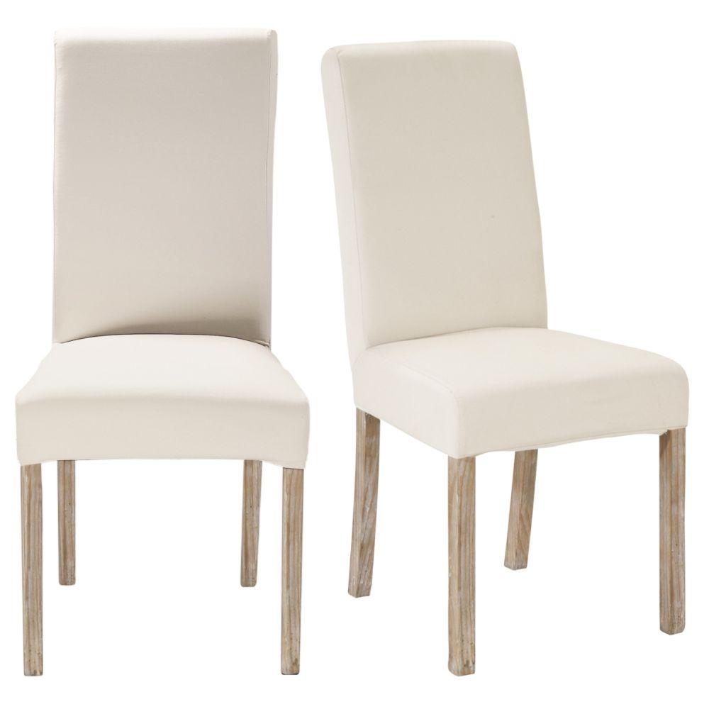 Maisons du Monde 2 chaises à housser en pin blanchi Margaux