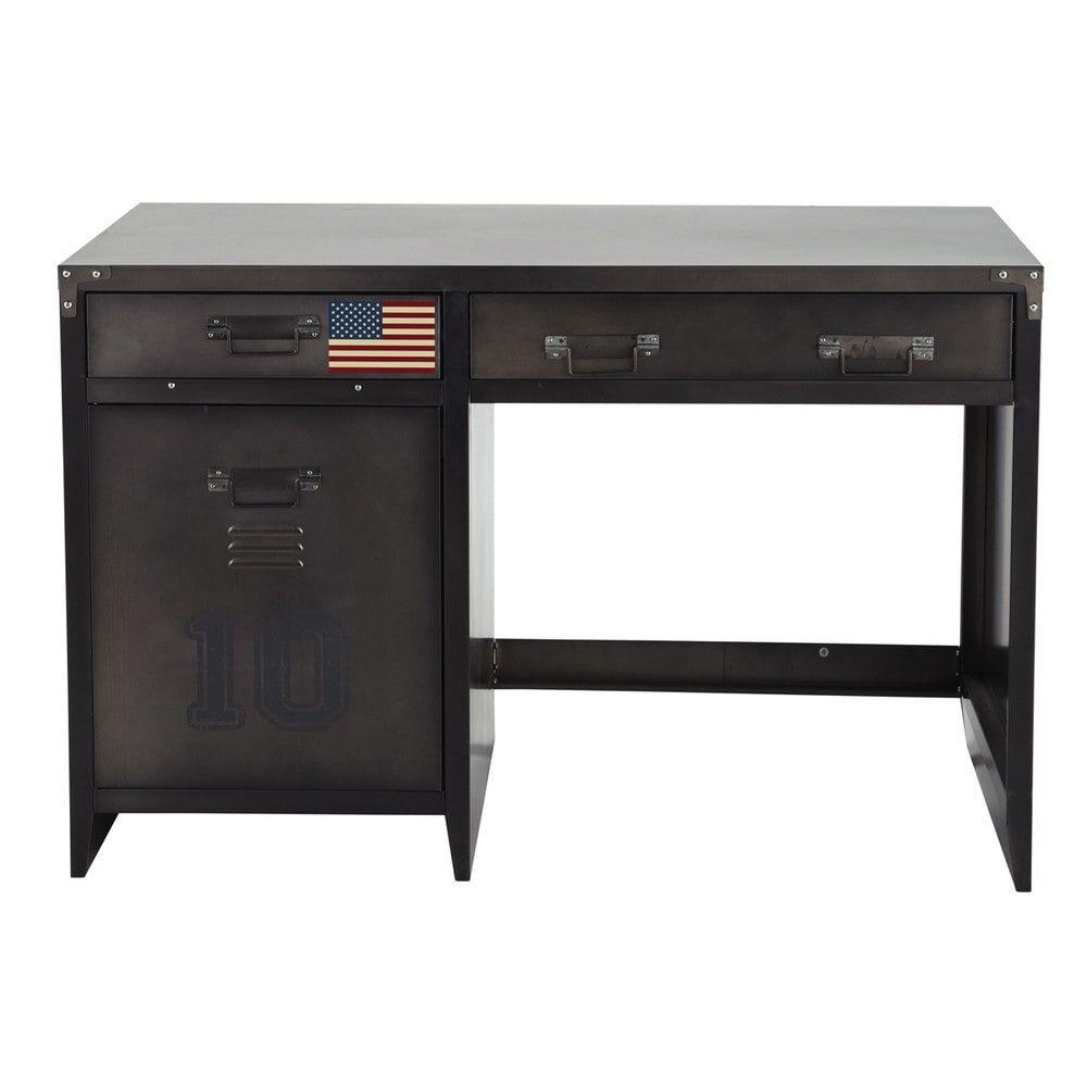 Maisons du Monde Bureau indus 1 porte 2 tiroirs en métal Andrews