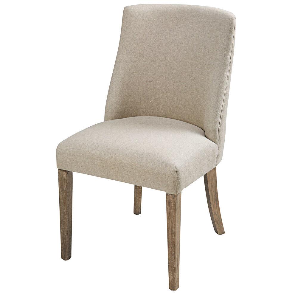 Maisons du Monde Chaise en lin coloris lin et chêne blanchi Diane