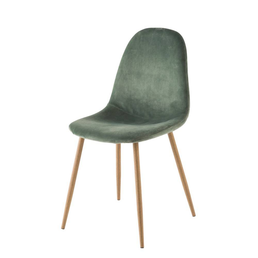 Maisons du Monde Chaise style scandinave en velours vert Clyde