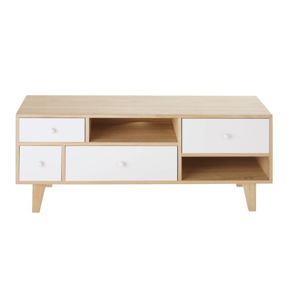 Maisons du Monde Meuble TV style scandinave 4 tiroirs en paulownia blanc Spring