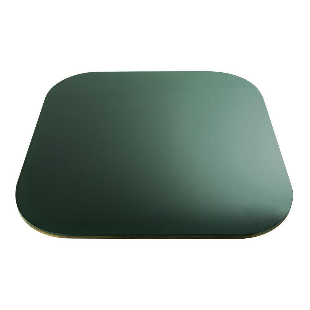 Maisons du Monde Plateau de table en verre fumé vert 4 personne L90 Blackly
