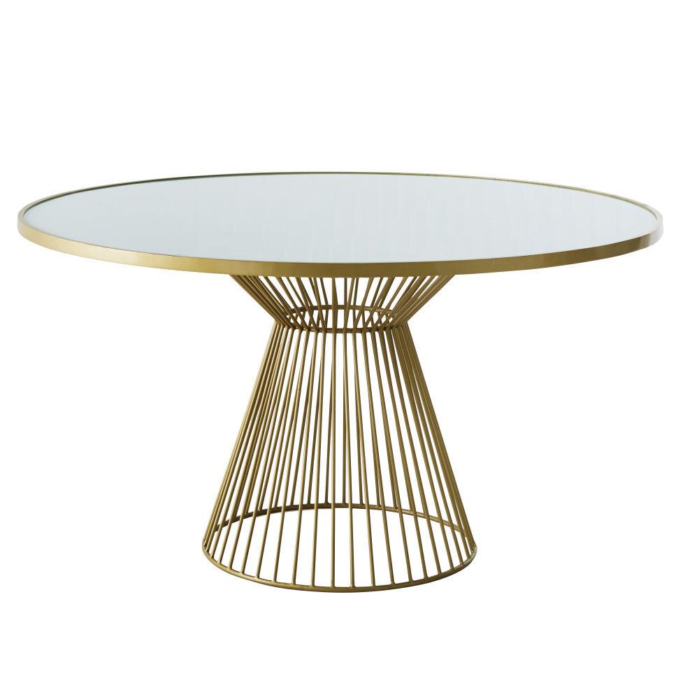 Maisons du Monde Table à manger ronde 6 personnes en verre blanchi D140 Riverside