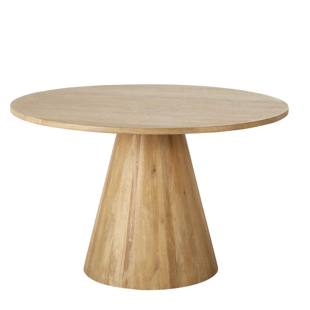 Maisons du Monde Table à manger ronde en manguier massif blanchi 5/6 personnes D120 Nogobo