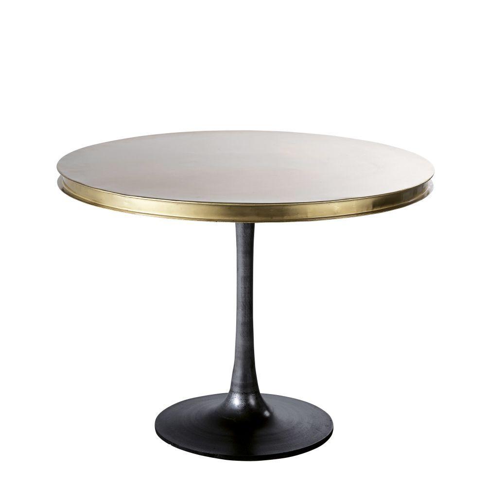 Maisons du Monde Table à manger ronde en métal coloris laiton 4/5 personnes D100 Rockefeller
