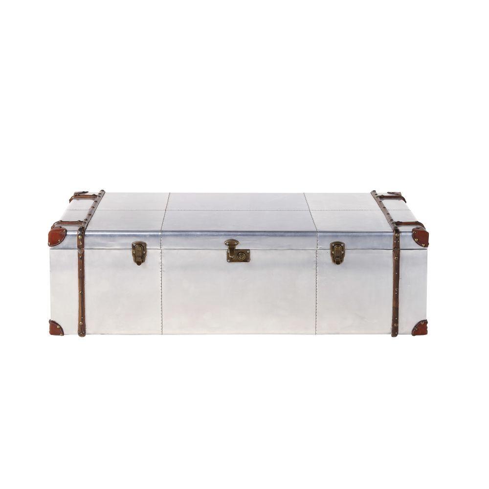 Maisons du Monde Table basse malle en aluminium clouté Cruse