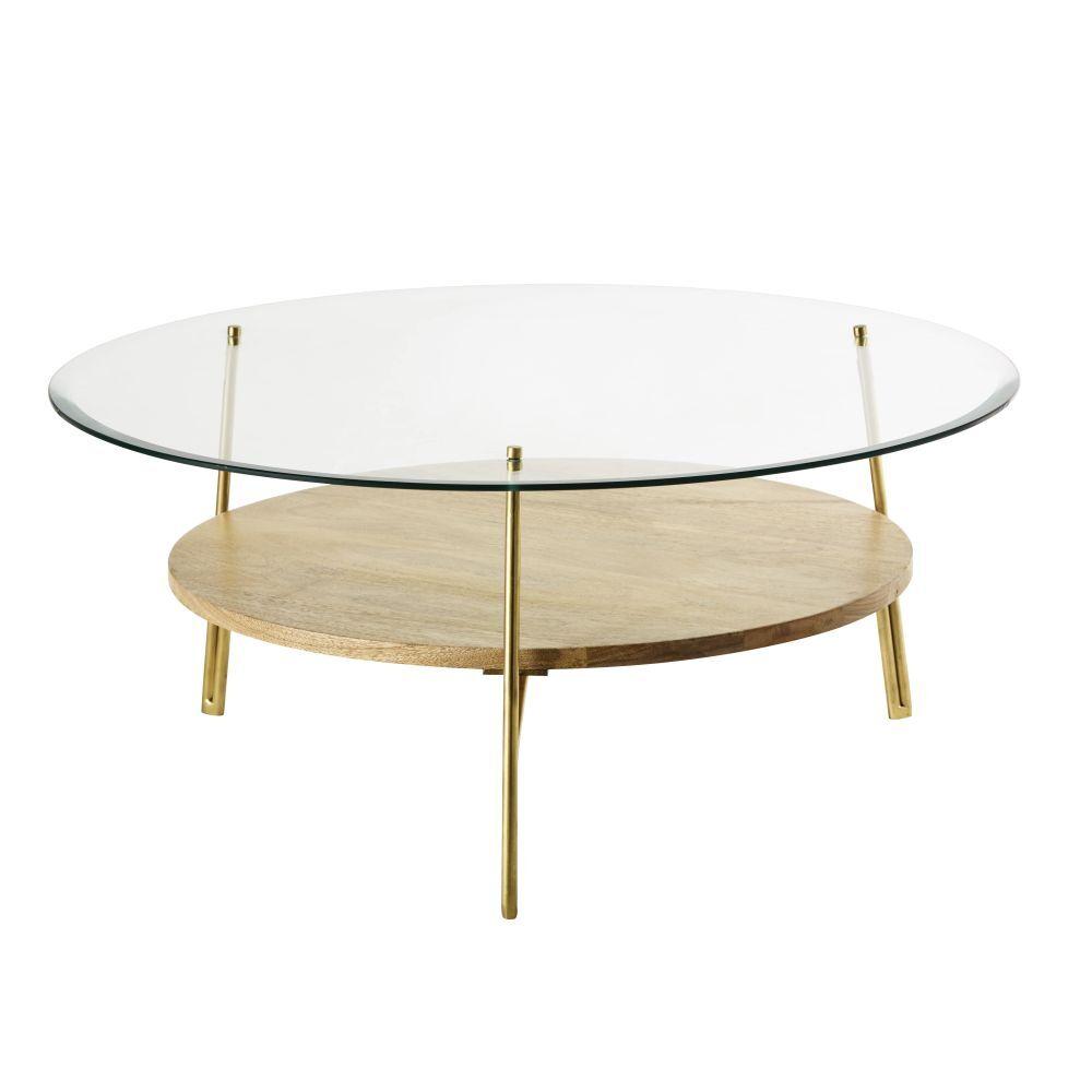 Maisons du Monde Table basse ronde en verre trempé et manguier massif Sola