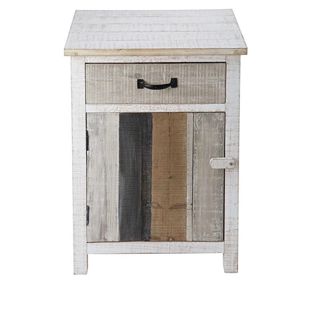 Maisons du Monde Table de chevet 1 porte 1 tiroir en sapin blanchi Noirmoutier