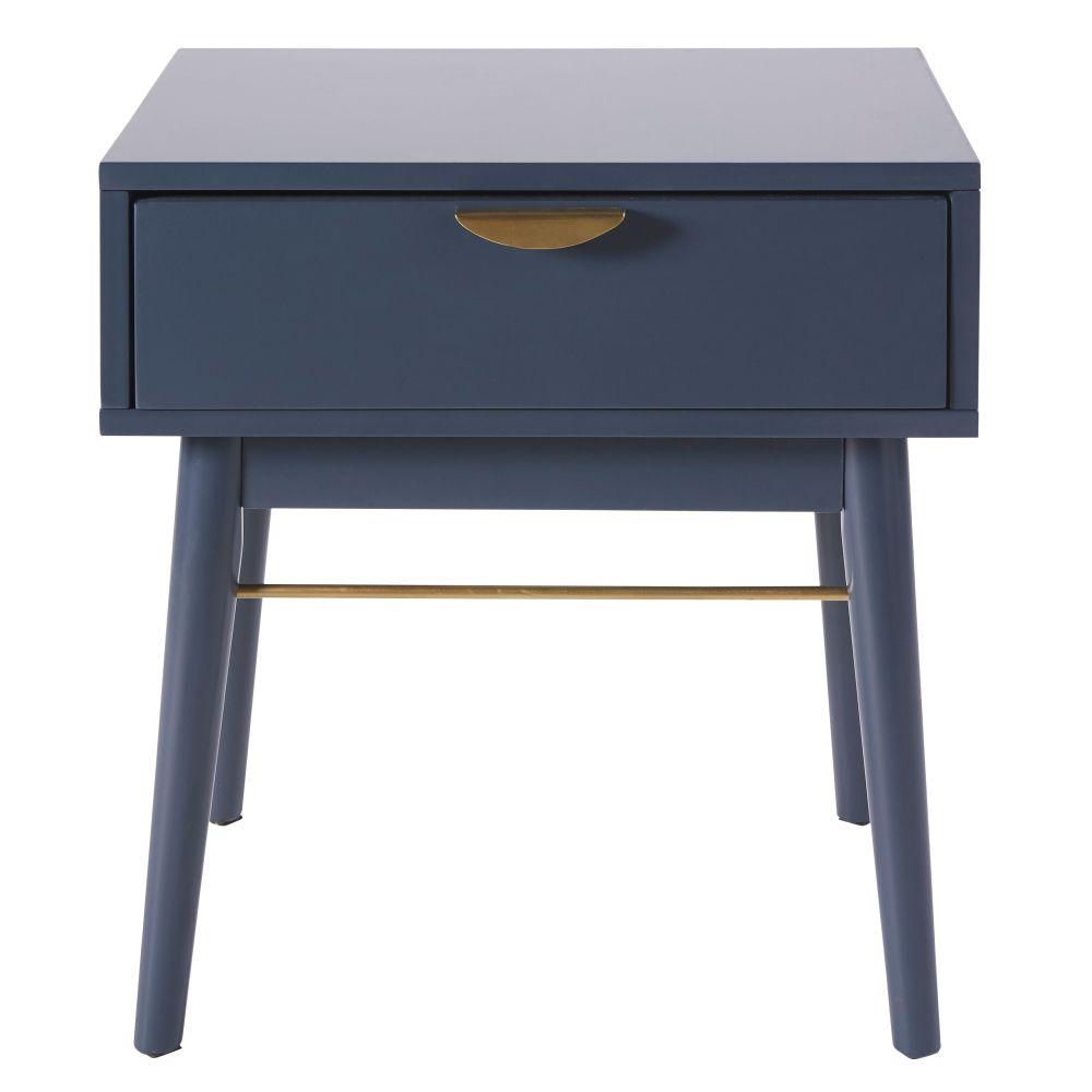 Maisons du Monde Table de chevet 1 tiroir bleu foncé Penelope